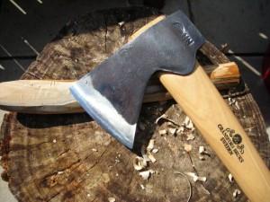 Gransfors Bruks hatchet cutting wood