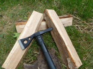 SOG tomahawk cutting wood