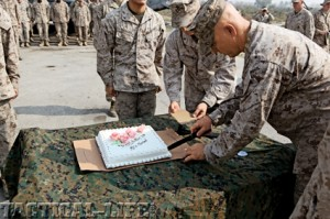 USMC birthday cake cutting ceremony with ka-bar knife.