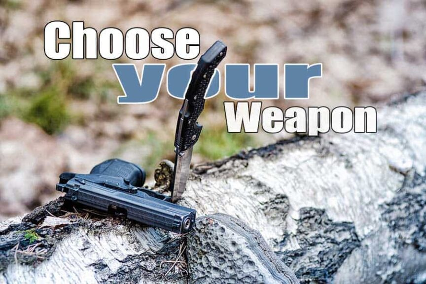 gun or knife for defense